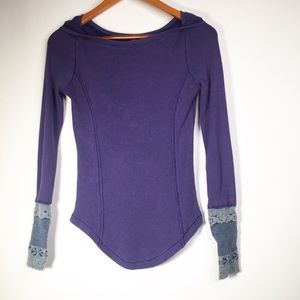 Free People Small Rosey Cuff Thermal Purple